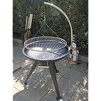 Dreibein Grill XXL silber Edelstahl Tripod Garten ✔ rund dreieckig ✔ schwenkbar ✔ Grillen mit Holzkohle ✔ mit Dreibeinen