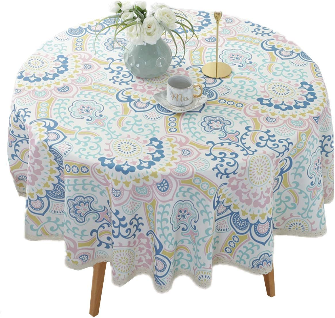 """Heavy Duty Elegant Printed Tablecloth - Spillproof Fabric Lace Table Cloth - Round Table Cover for Dining Room Kitchen Home Decor (47"""" Round, Blue Cirrus)"""