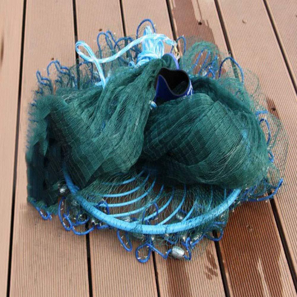 Zaoyun 3.0m-7.2m Rete da Pesca in Nylon,Rete da Pesca di Lancio della Mano per Esche Pesci con Corda della Mano 10m e zavorra