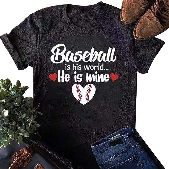 d2dcee46 Amazon.com: Anbech Baseball Mom Shirts Short Sleeve Cute Novelty Graphic  Tees Blouse Tops: Clothing