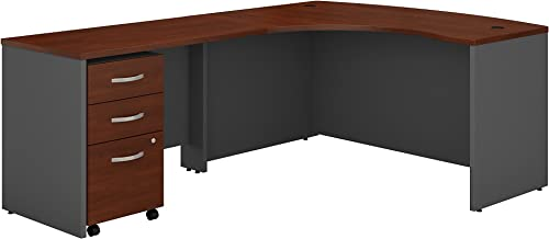 Bush Business Furniture Series C Left Handed L Shaped Desk with Mobile File Cabinet in Hansen Cherry,