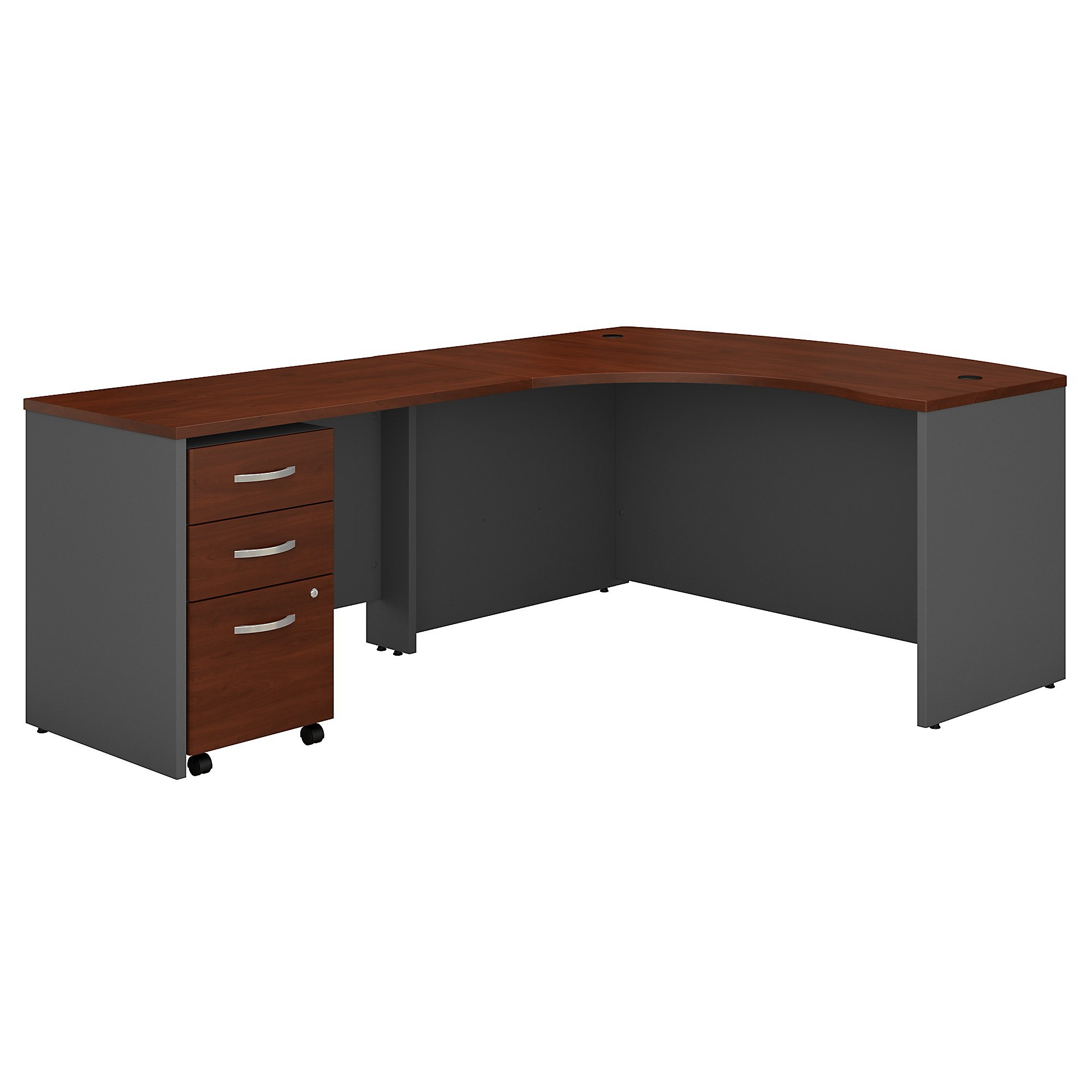 Bush Business Furniture SRC007HCLSU Series C Left Handed L Shaped Desk with Mobile File Cabinet in Hansen Cherry,