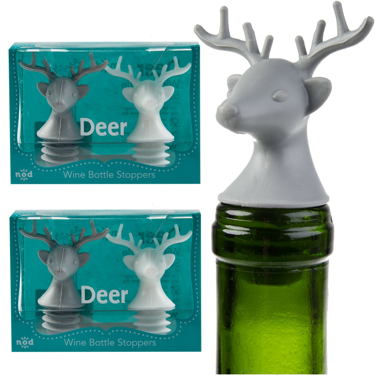 Amazon.com: 4 Nod Deer Head Silicone Wine Bottle Stoppers Fun Unique ...