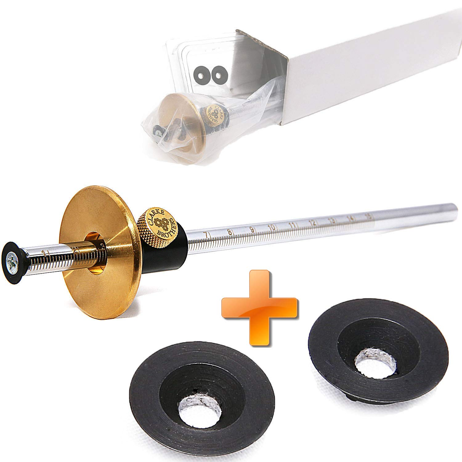 Wheel Marking Gauge woodworking tool set with 2 extra Cutter wheels, Graduated Inch and mm scale wmg 8''