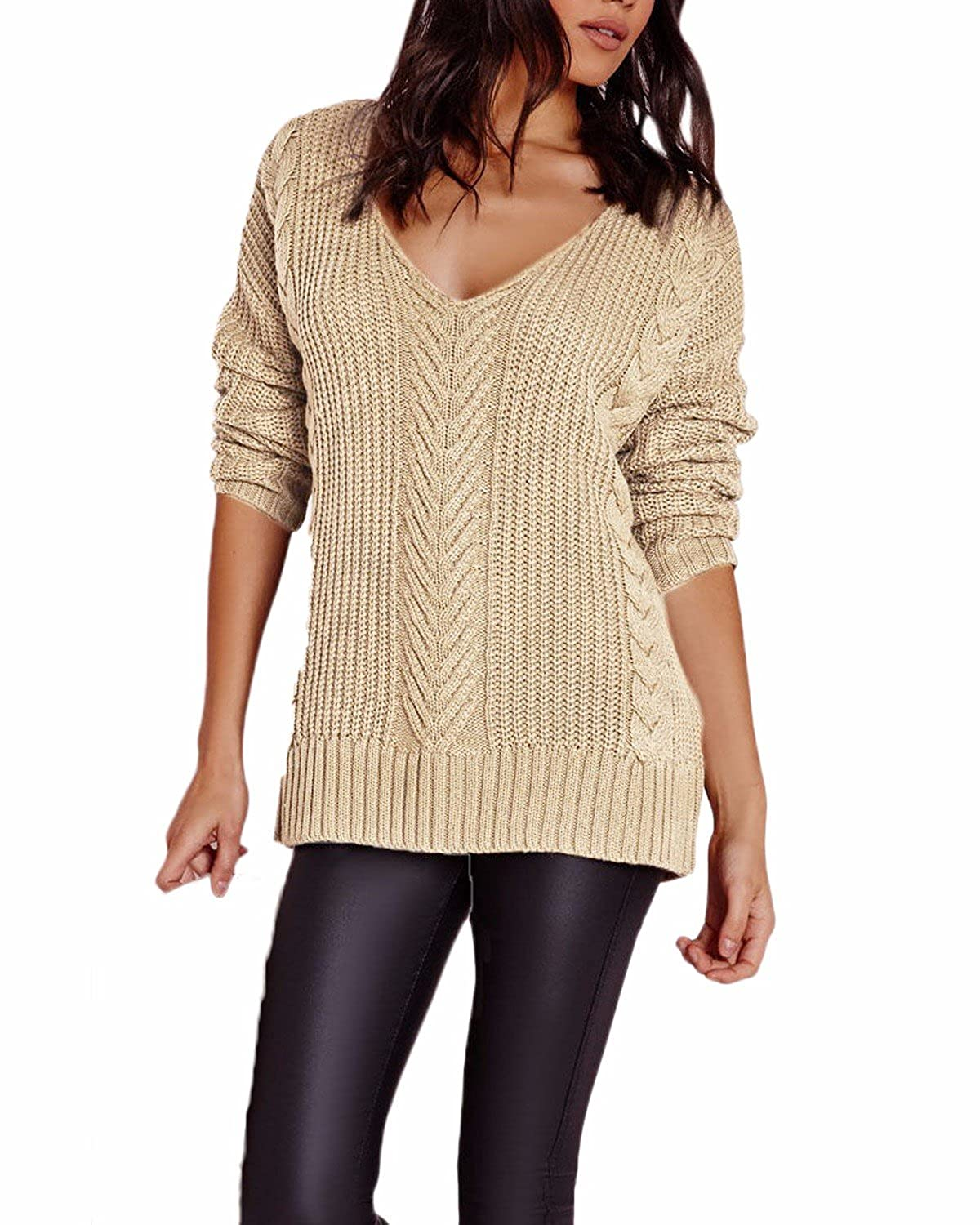 Auxo Women Casual V Neck Long Sleeve Hollow Pullover Knitted Sweater Tops Jumper