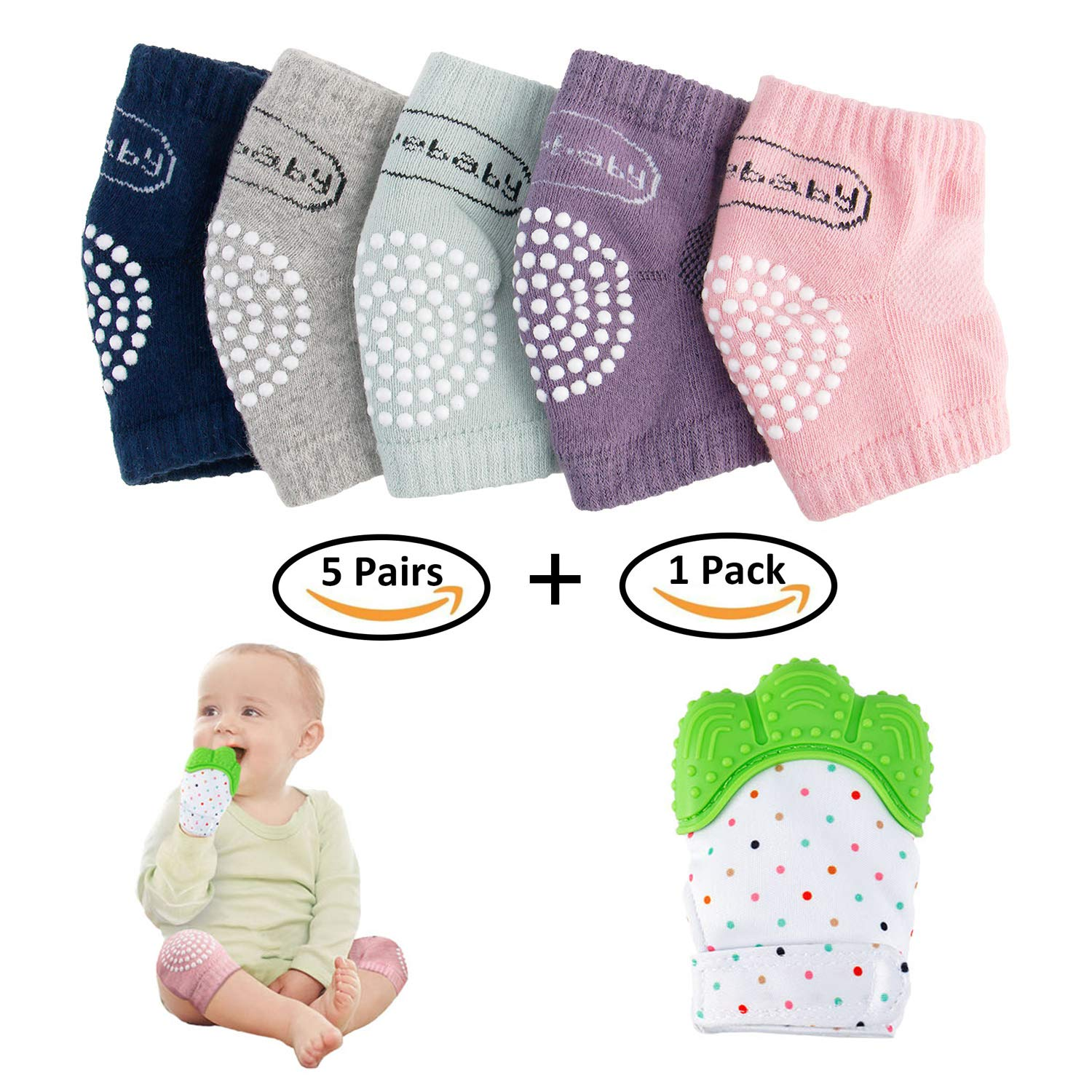 NASHRIO Baby Knee Pads for Crawling (5 Pairs) and Baby Teething Mitten (1 Pack), Elastic Anti-Slip and Protect Infants & Toddlers Knees, Elbows and Legs for Boys and Girls (Unisex)