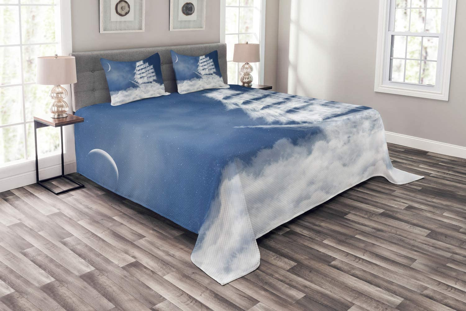 Ambesonne Nautical Bedspread, Yacht in The Ocean Madend Shaped with Fluffy Cloudstmospheric Imaginary Sky, Decorative Quilted 3 Piece Coverlet Set with 2 Pillow Shams, Queen Size, Blue White