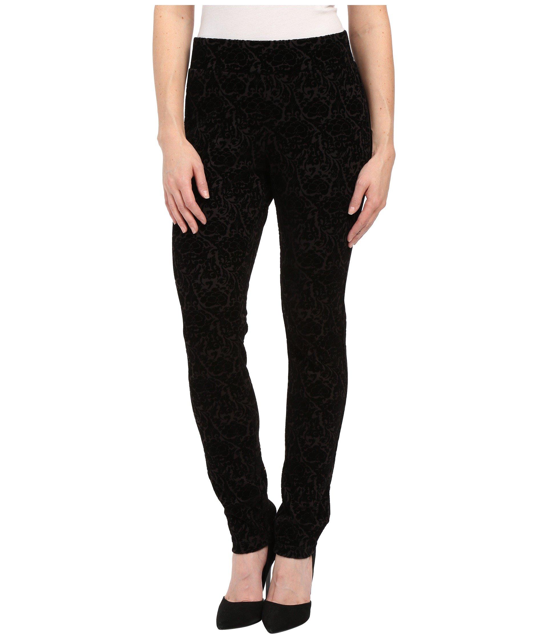 NYDJ Petite Women's Petite Joanie Skinny Pull On Leggings Black Primrose Flocking Pants 18P X 31