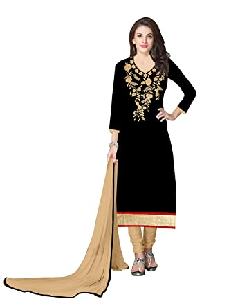 083fe946d6 Gopi Fashion Summer Collection Black Pure Cotton with Embroidery craft-work  Un-Stitched Salwar Suite Dress Material.: Amazon.in: Clothing & Accessories