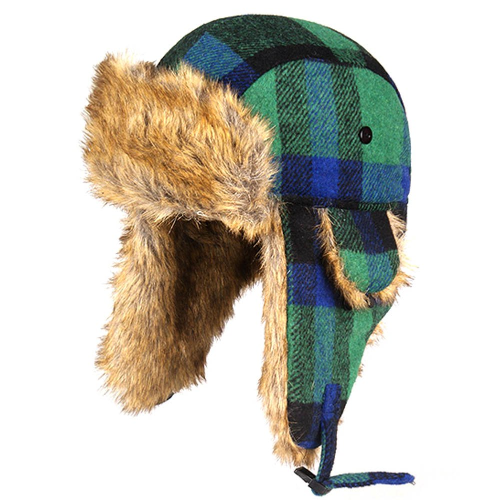 CHUANGLI Winter Womens Mens Thick Trapper Hat Ear Flap Chin Strap Plaid Cap Ski Hat CHUANGLI-WD071101