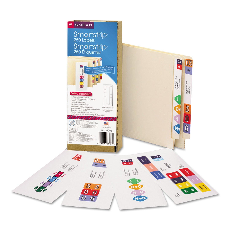 Smead 66006 SmartStrip Refill Label Kit 250 Label Forms/Pack Inkjet by Smead