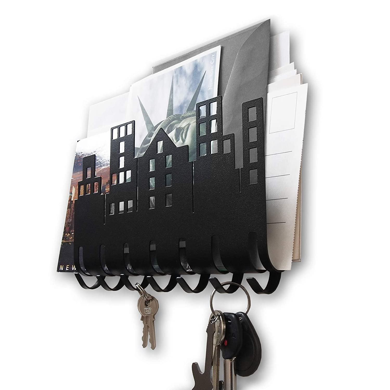 Wall Key Rack Keys Hook Hooks Letter Box Metal Steel Black Home Welcome Holder Design Accessories Decoration Originality House Warming Gift Shelf New