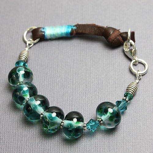 ab124b44314d3 Amazon.com: Blue Green Lampwork Glass Bead Bracelet with Leather-7.5 ...
