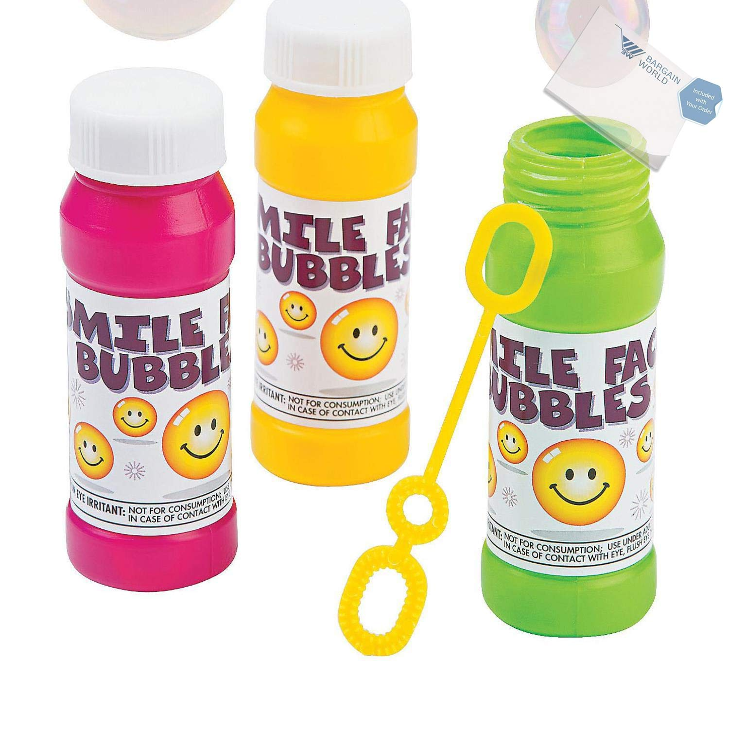 Bargain World Plastic Smile Face Bubble Bottles (With Sticky Notes) by Bargain World (Image #2)