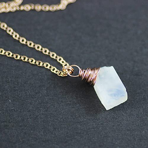 1fa14cf01d363e Image Unavailable. Image not available for. Color: Raw Rainbow Moonstone  Rose Gold Stone Necklace ...