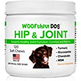 Hip & Joint Supplement for Dogs - Glucosamine, Chondroitin, MSM, Organic Turmeric. Supports Joints, Comfort and Mobility | 1 - 4 month supply | For all size dogs | 120 Soft Chews | Made in USA