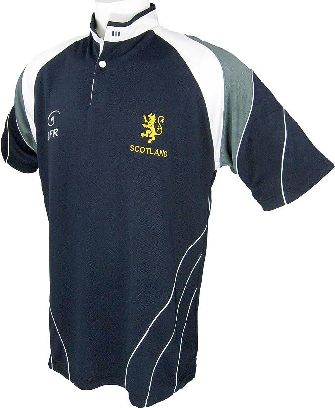 Camiseta de Rugby Tejido Transpirable con Escudo de León de Escocia (Lion Rampant) Bordado: Amazon.es: Deportes y aire libre
