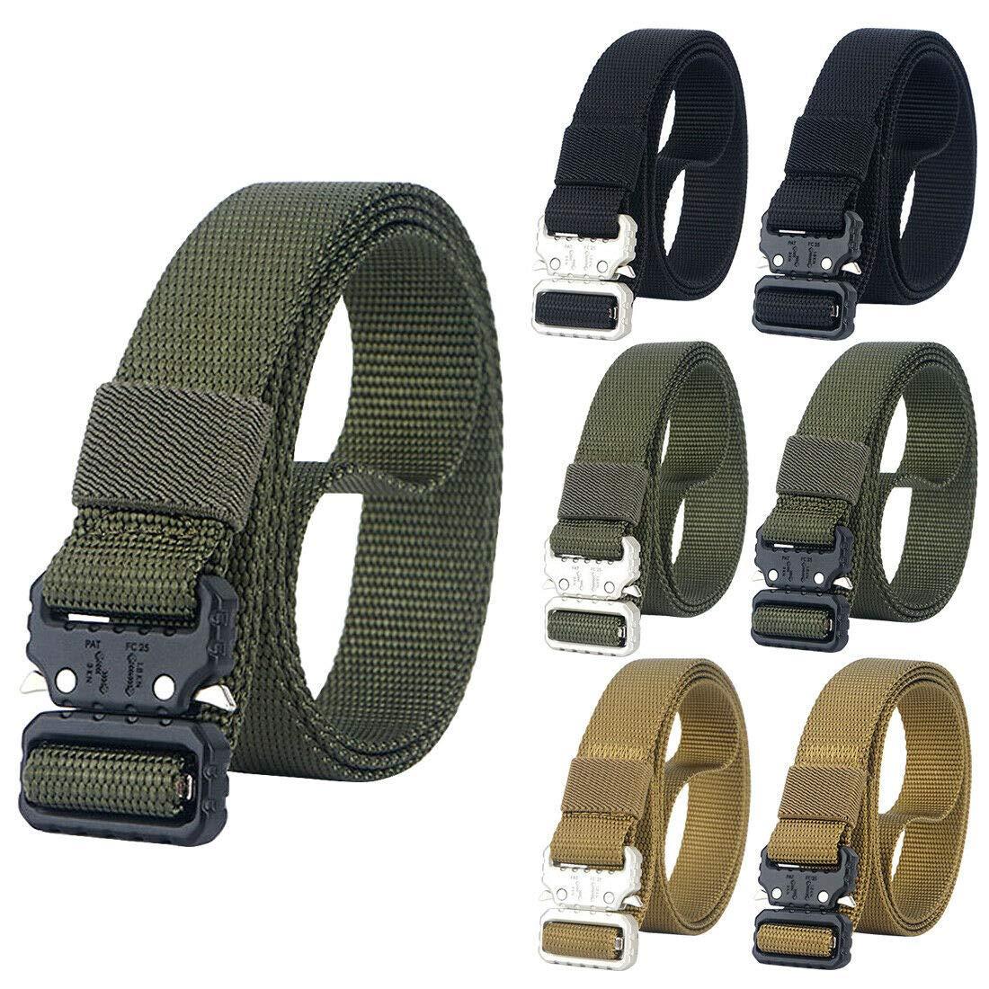 NiceShop16 1 inch Skinny Tactical Belt Military Nylon Webbing Heavy Duty Belts (Army Green (Black Buckle))