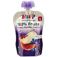 Hipp Biologique 100% Fruits Pommes Myrtilles Grenades  dès 6 mois - 6 gourdes de 90 g