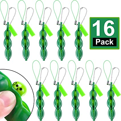 24 Pieces Fidget Bean Toy Set Edamame Soybean Keychain Anxiety Stress Relief ADHD Toy Keychain Extrusion Pea Toys for Adults Backpack Keys Mobile Phones Gift
