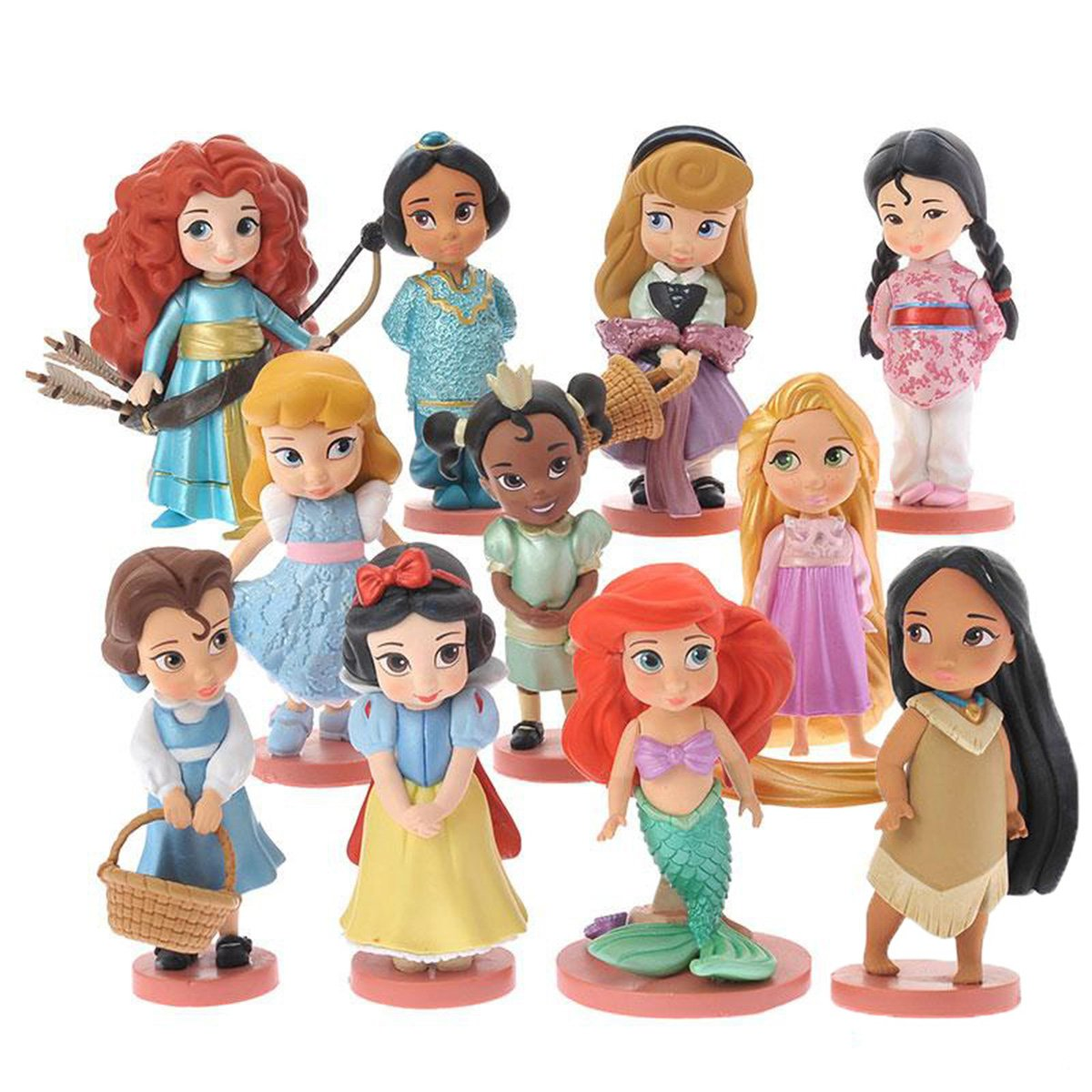 Lovely World Princess Toys 1 Set Of 11 Dolls Action Figures Girl Dashboard Bobble Doll, Collection Figurines Gifts For Decoration 8cm/3.1''