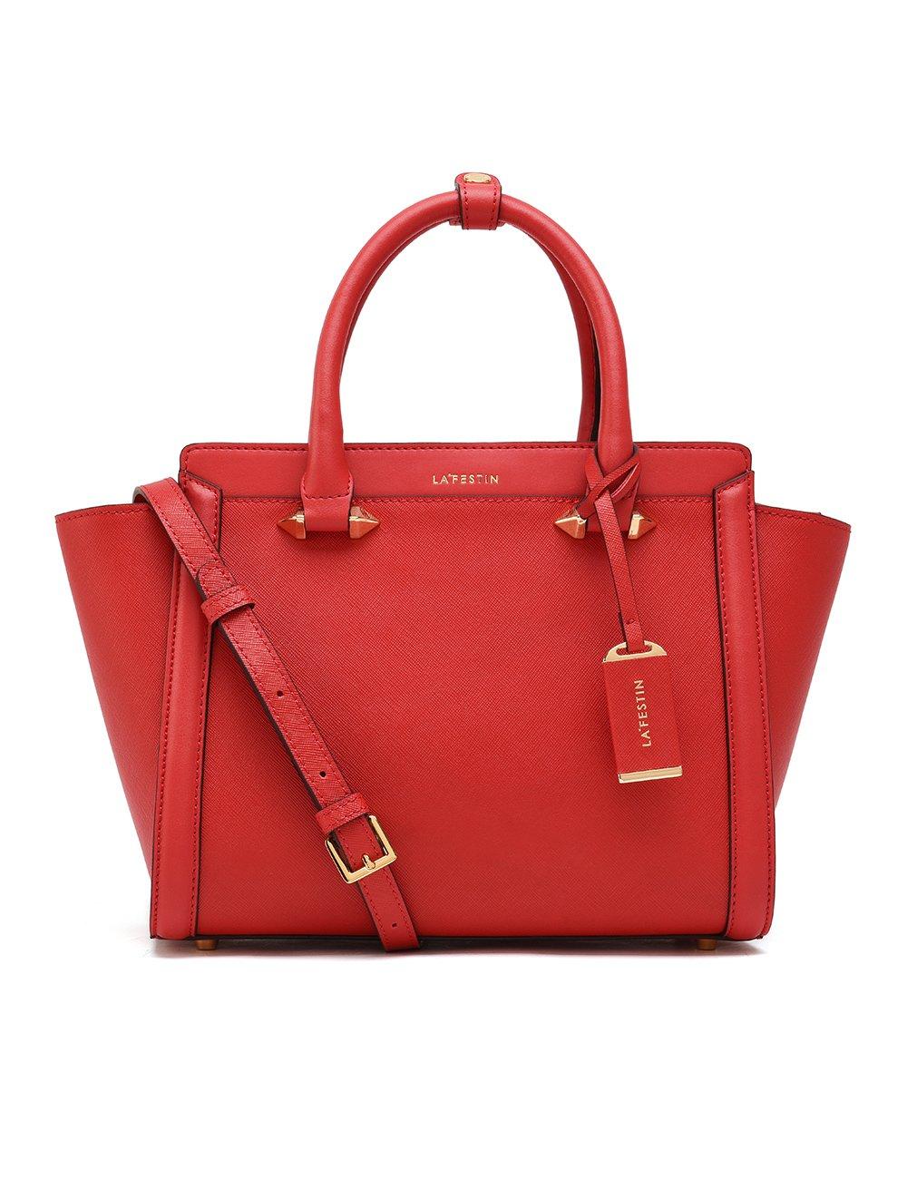 LA'FESTIN Bags for Women 2017 Fashion Big Purses Genuine Leather Top Handle Handbags (Red)