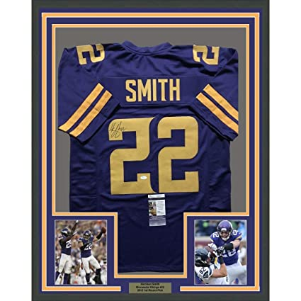 aa8fe22faa6 Framed Autographed Signed Harrison Smith 33x42 Minnesota Vikings Color Rush Football  Jersey JSA COA