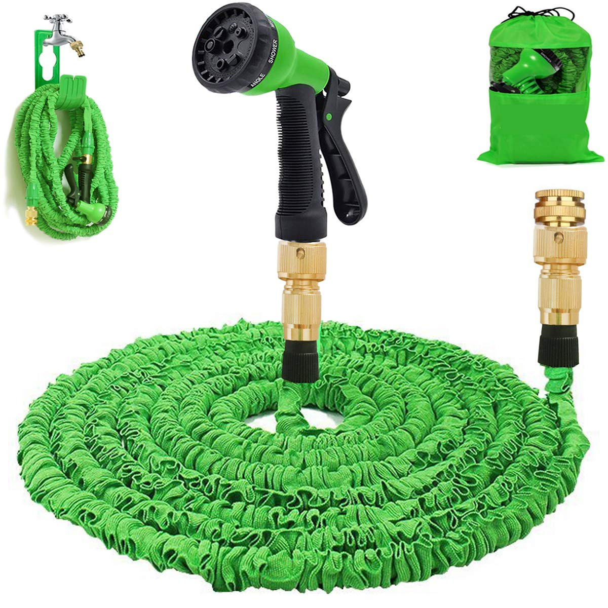 Gartenschlauch 50Ft erweiterbar Wasserschlauch Rohr - 3-mal erweitern flexiblen Schlauch 8-Pattern-Spritzpistole Anti-Leckage Schlauch Messing Schlaucharmaturen product image