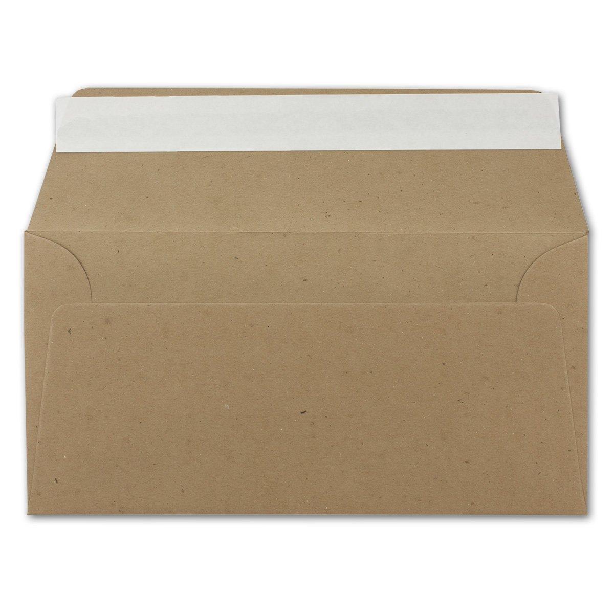 100x Kraftpapier-Umschl/äge DIN Lang Nassklebung 11 x 22 cm sandbraun Einladungs-Umschl/äge Serie UmWelt Brief-Umschl/äge aus Recycling-Papier