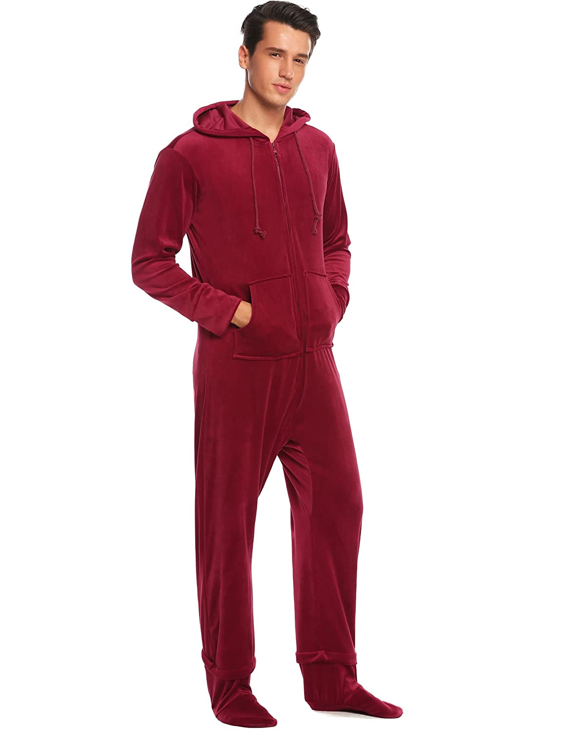 eb02cf4fa Ekouaer Mens Coral Fleece Onesie Long Sleeve Hooded Footed Jumpsuit Pajamas  One Piece S-XXL at Amazon Men's Clothing store: