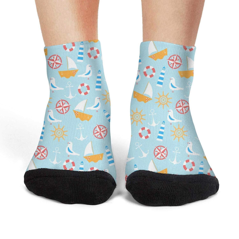 Mens low cut athletic Ankle sock Seagull Navy Elements Blue Non-Slip Short Sock