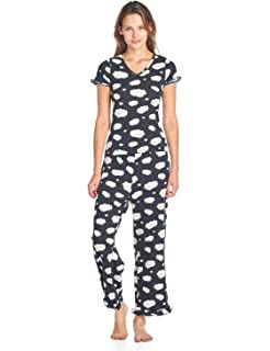 4845568c57 BedHead Pajamas BHPJ Women s Fitted Soft Knit Ruffle Short Sleeve Capri Pajama  Set