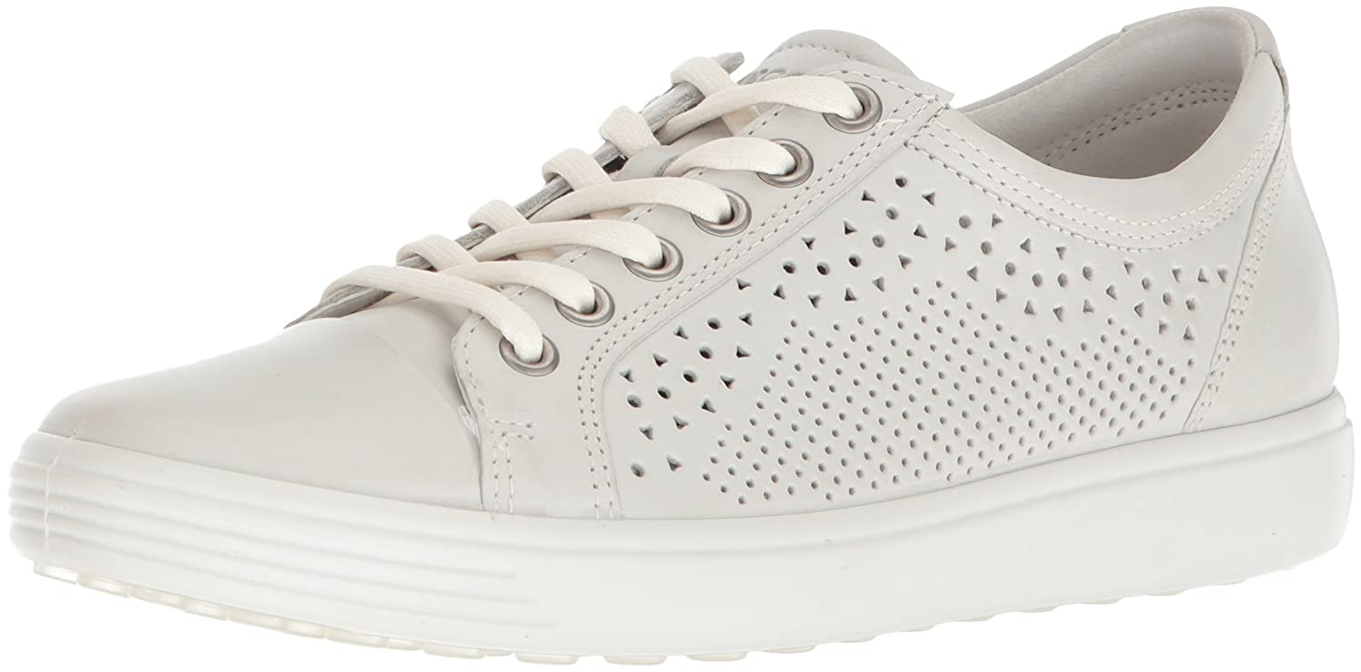 Shadow White ECCO Womens Soft 7 Lace Cut Leather Fashion Sneakers