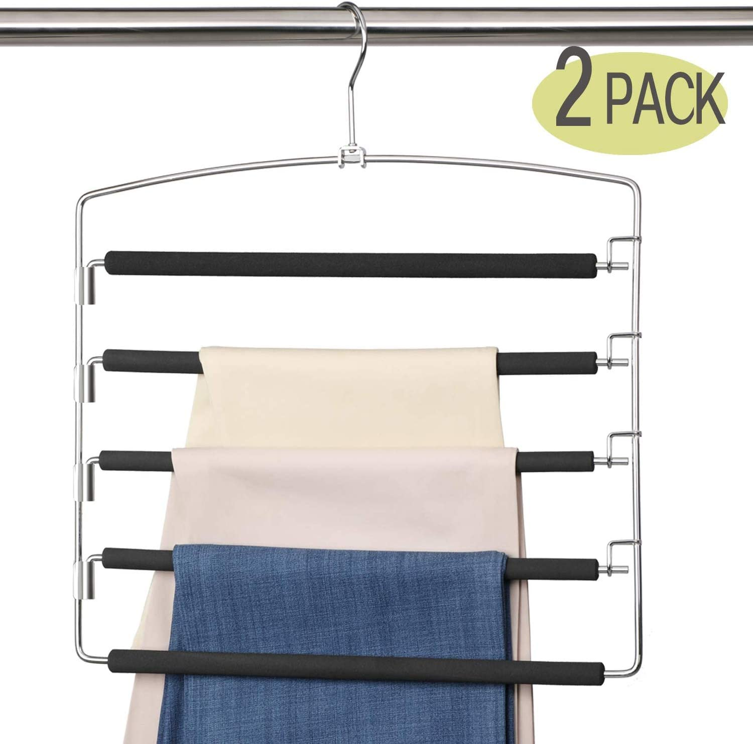 MeetU Pants Hangers 5 Layers Stainless Steel Non-Slip Foam Padded Swing Arm Space Saving Clothes Slack Hangers Closet Storage Organizer for Pants Jeans Trousers Skirts Scarf Ties Towels(Pack of 2)