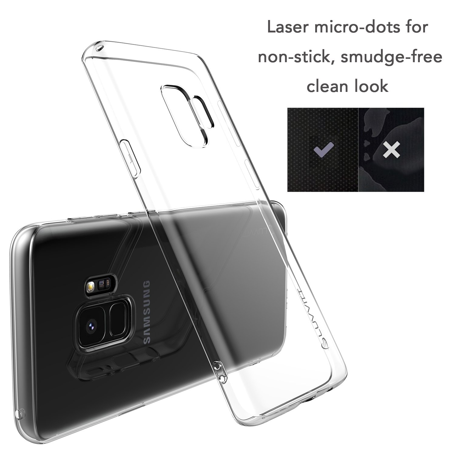 best sneakers 536c1 10d8b Luvvitt Clarity Case with Light and Slim Flexible TPU Rubber Protection for  Samsung Galaxy S9 Plus - Crystal Clear