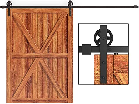 Amazon Com Easelife 10 Ft Heavy Duty Big Wheel Sliding Barn Door Hardware Track Kit Ultra Hard Sturdy Slide Smoothly Quietly Easy Install Fit Up To 60 Wide Door 10ft Track Single Door Kit Home Improvement