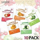 Naisture Korean Face Sheet Masks (10 Count), Fresh Vegetable Everyday Veggie Slice Full Facial Mask - Tomato, Cucumber, Carrot, Kale and Pumpkin - 10 Pack Set
