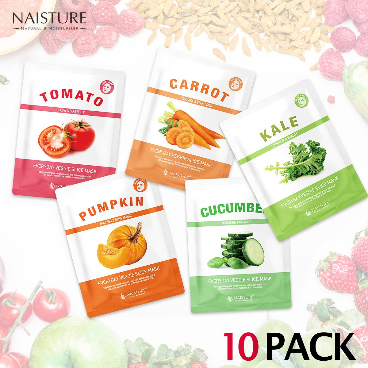 Naisture Korean Face Sheet Masks (10 Count), Fresh Vegetable Everyday Veggie Slice Full Facial Mask - Tomato, Cucumber, Carrot, Kale and Pumpkin - 10 Pack Set