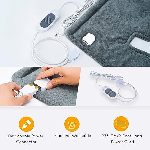 50 * 56cm Almohadilla Eléctrica Calor 100W espalda y lumbares de OMorc, Calentamiento rápido,3 niveles temperatura,Aliviar el dolor muscular,Sistema ...