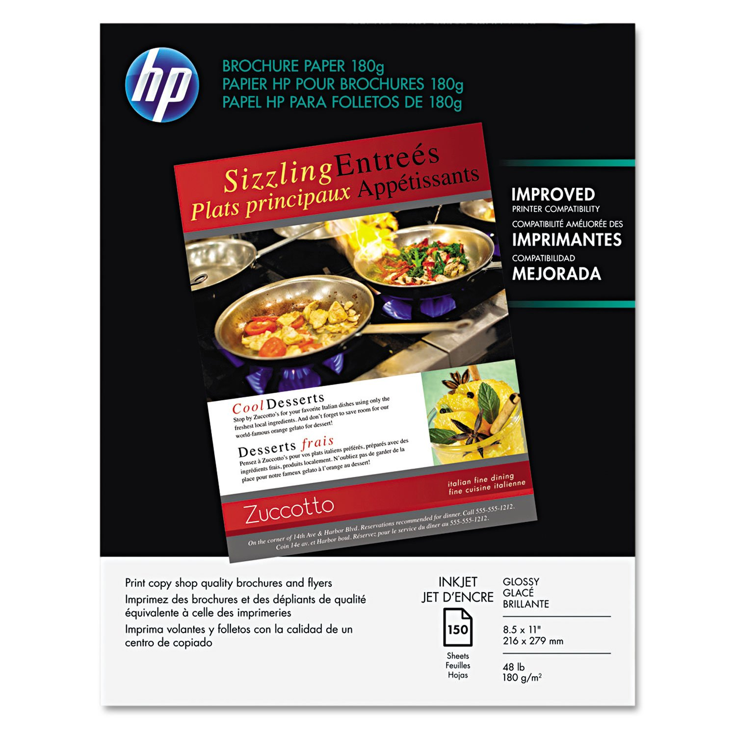 HP Q1987A Inkjet Brochure/Flyer Paper, 98 Brightness, 48lb, 8-1/2 x 11, White, 150/Pack