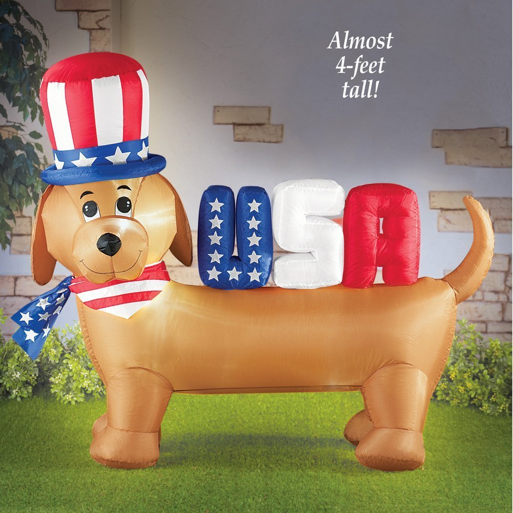 ghi Patriotic Inflatable Uncle Sam Puppy Dog Airblown Yard Decoration