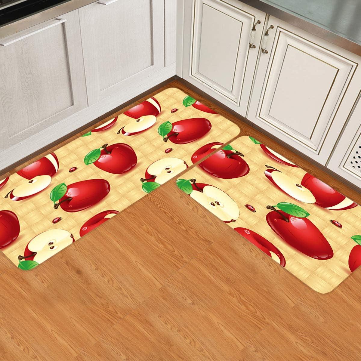Gsypo Red Apples Kitchen Rugs Set 2 Pieces, Non Slip Comfort Standing Floor Mat, Entryway Doormat Water Absorbent Washable Runner 16