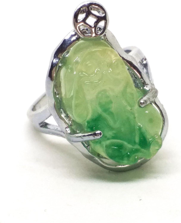 yigedan Chapado en oro de 18 quilates Jade Birmania Jade Suerte del anillo del santo Patrono para