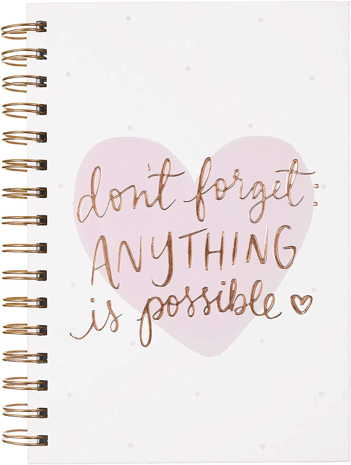 Dayna Lee Collection 6x8 Wirebound Hard Cover Notebook, 200 Pages, Acid-free Lined Sheets, Anything Is Possible