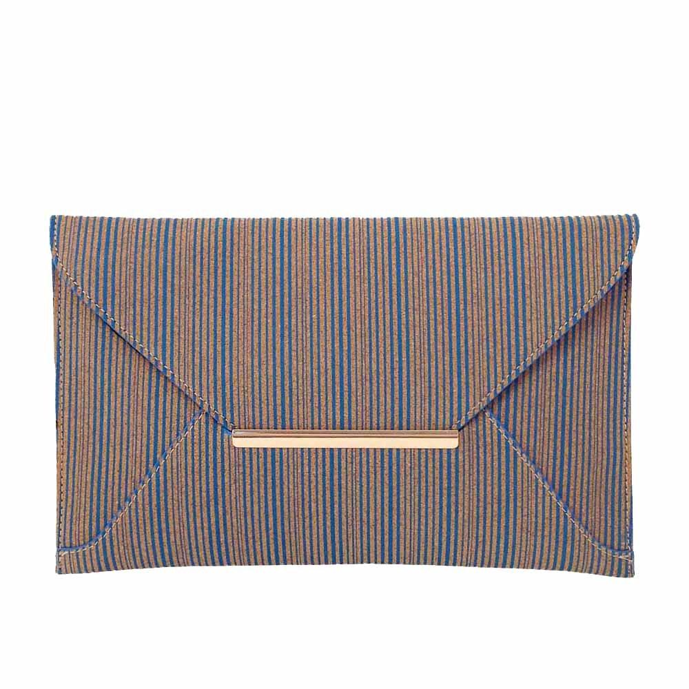 Striped Cork Envelope Casual Clutch Blue