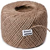 Jute Twine String Natural Ball 1,312ft / 2mm for Craft Gardening Mason Home Lights Wine Presents Strings Twines Cores Durable for Packing Wrapping Ribbon Christmas Wedding Gift
