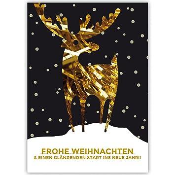 Edle Weihnachtskarten.20er Set Edle Weihnachtskarten Mit Gold Hirsch Im Schnee