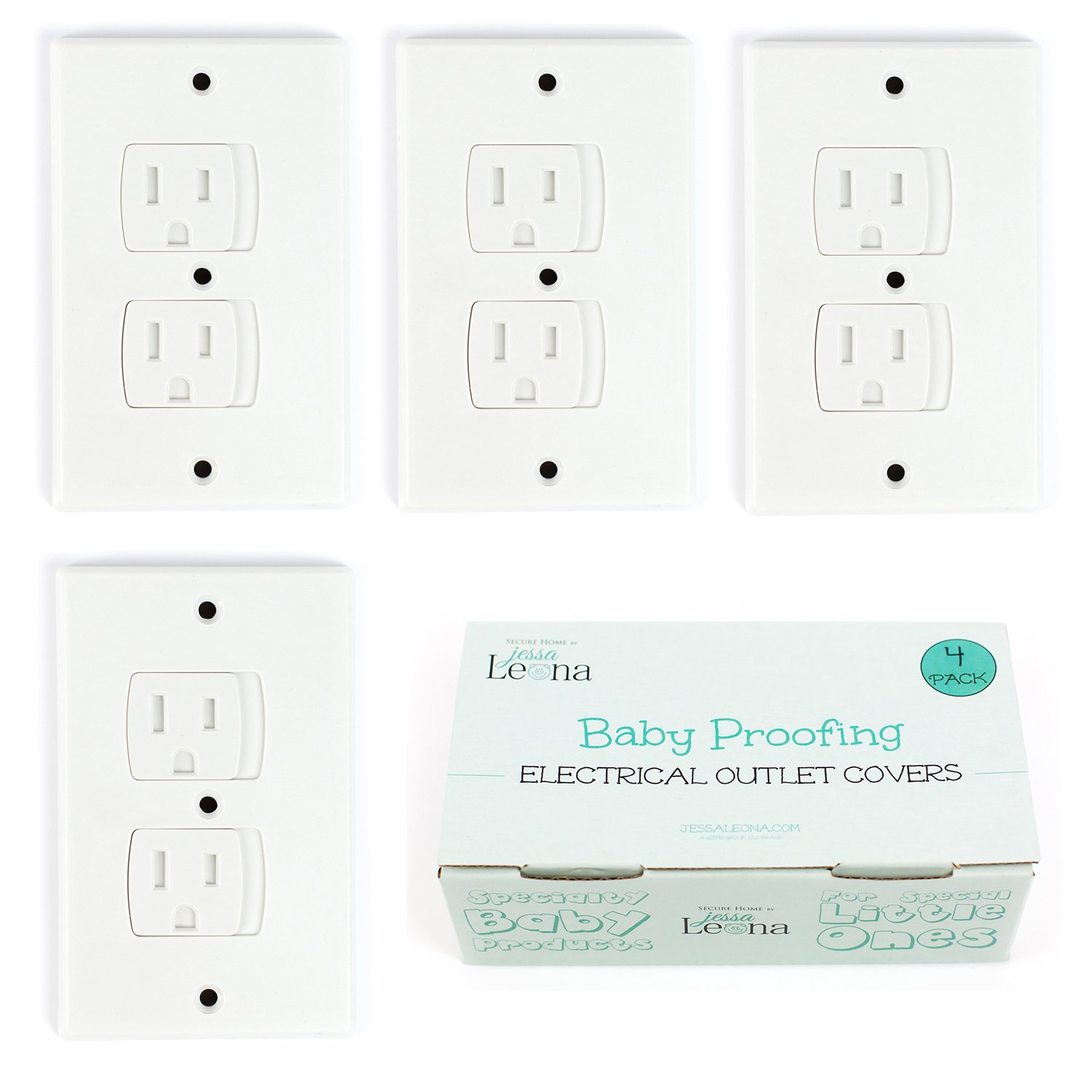 Self-Closing Electrical Outlet Covers for Baby Proofing | Automatic Sliding Electrical Safety Covers | Socket Plugs Alternate (4 Pack, White) Jessa Leona Baby