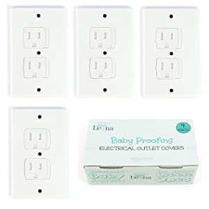 Self-Closing Electrical Outlet Covers for Baby Proofing | Automatic Sliding Electrical Safety Covers | Socket Plugs Alternate (4 Pack, White)