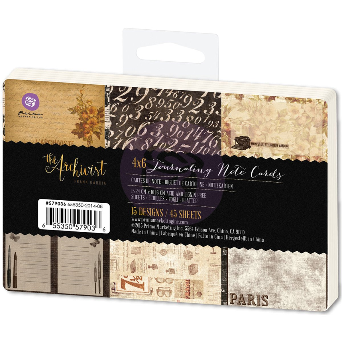 4 X 6 Prima Marketing 655350579036 The Archivist Journaling Notecards Pad